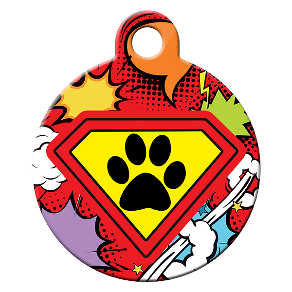 Superdog red dog ID tag