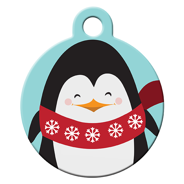 Icy penguin dog ID tag