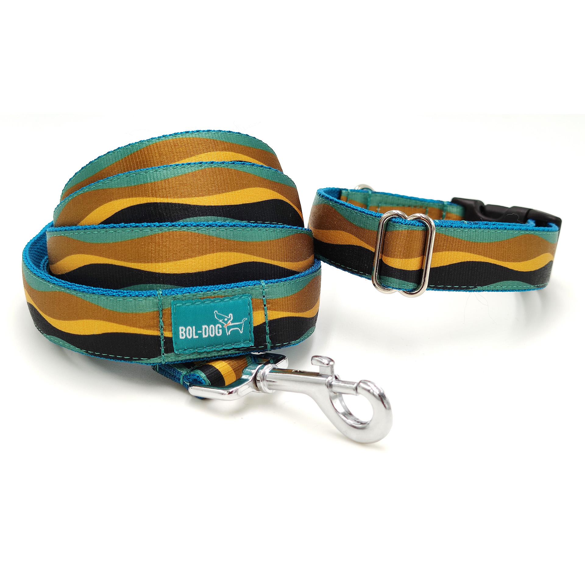színes csíkos nacolorful striped collar and leash setakörv és póráz szett