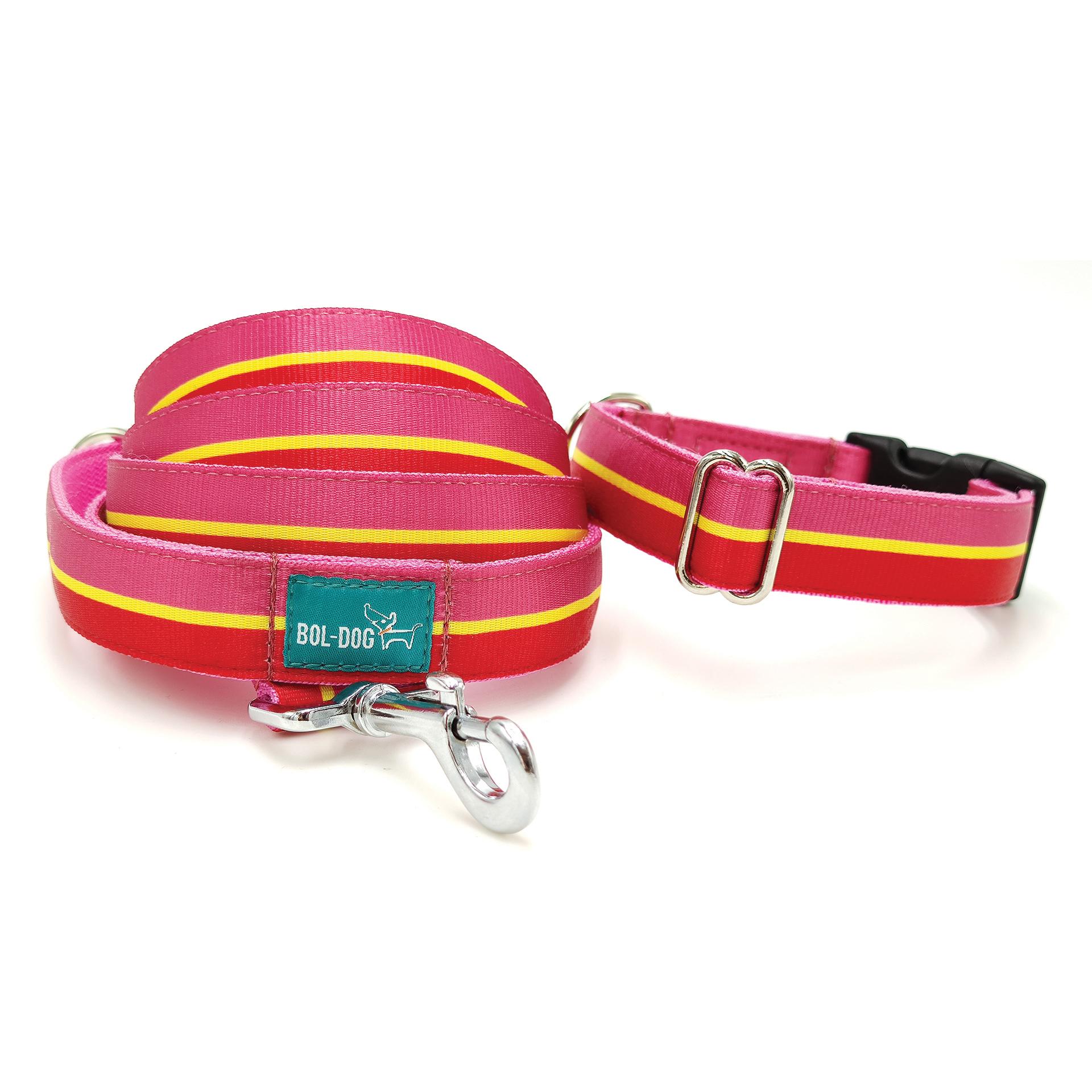 pink és piros csíkos nyakörv és póráz szett