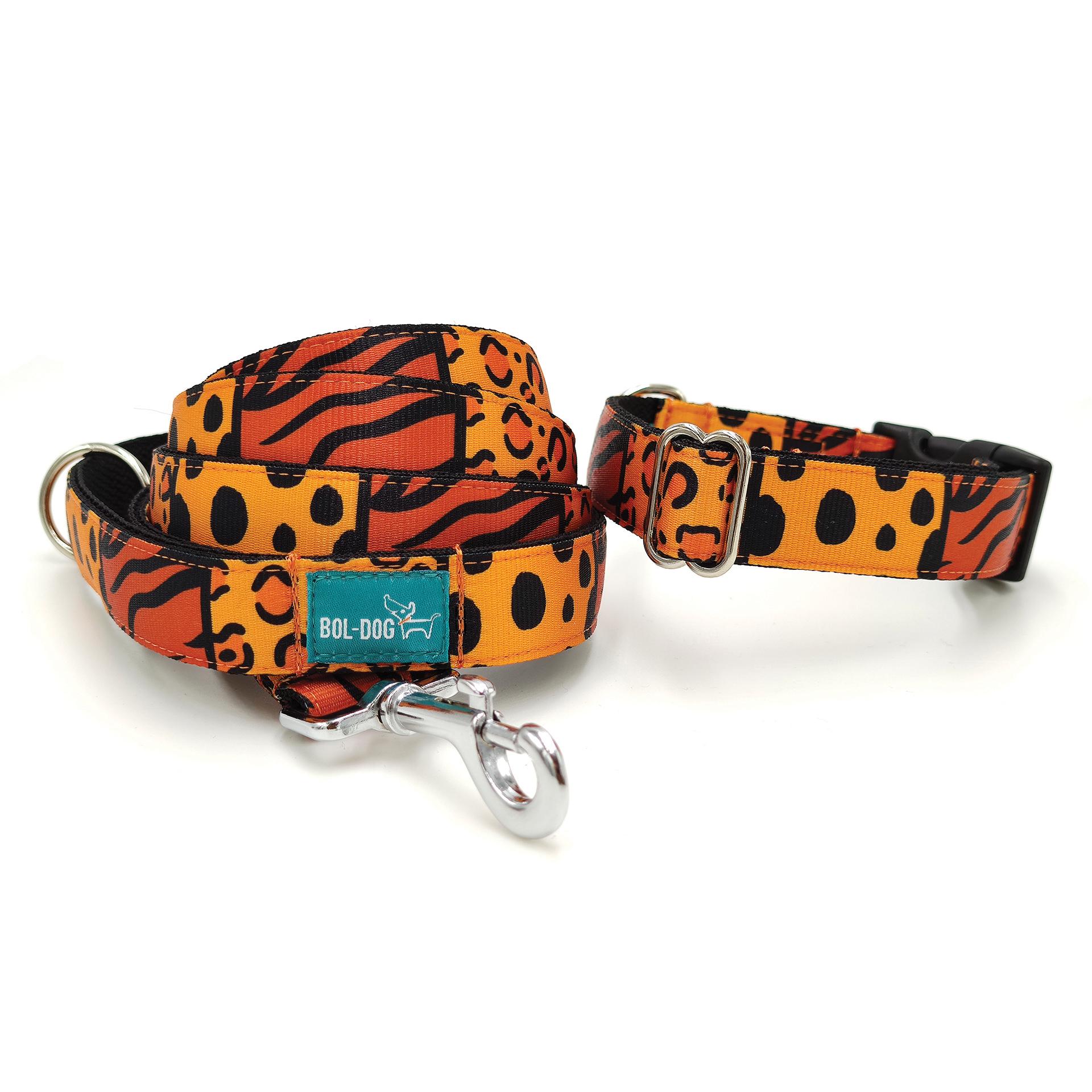 tigris mintás póráz és nyakörv szett