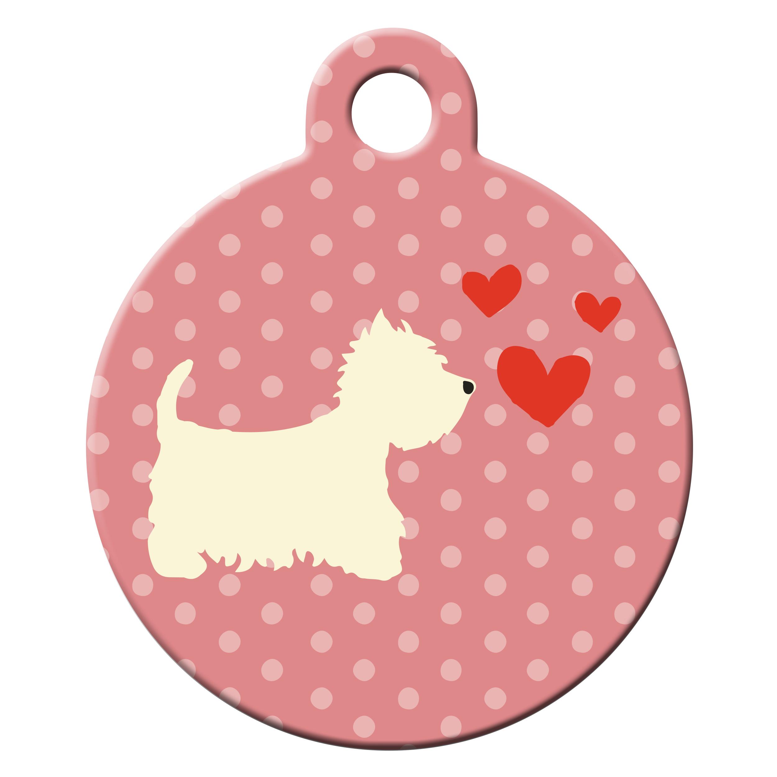 Westie pink dog ID tag