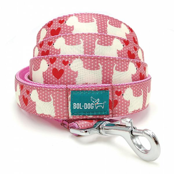 Westie pink póráz