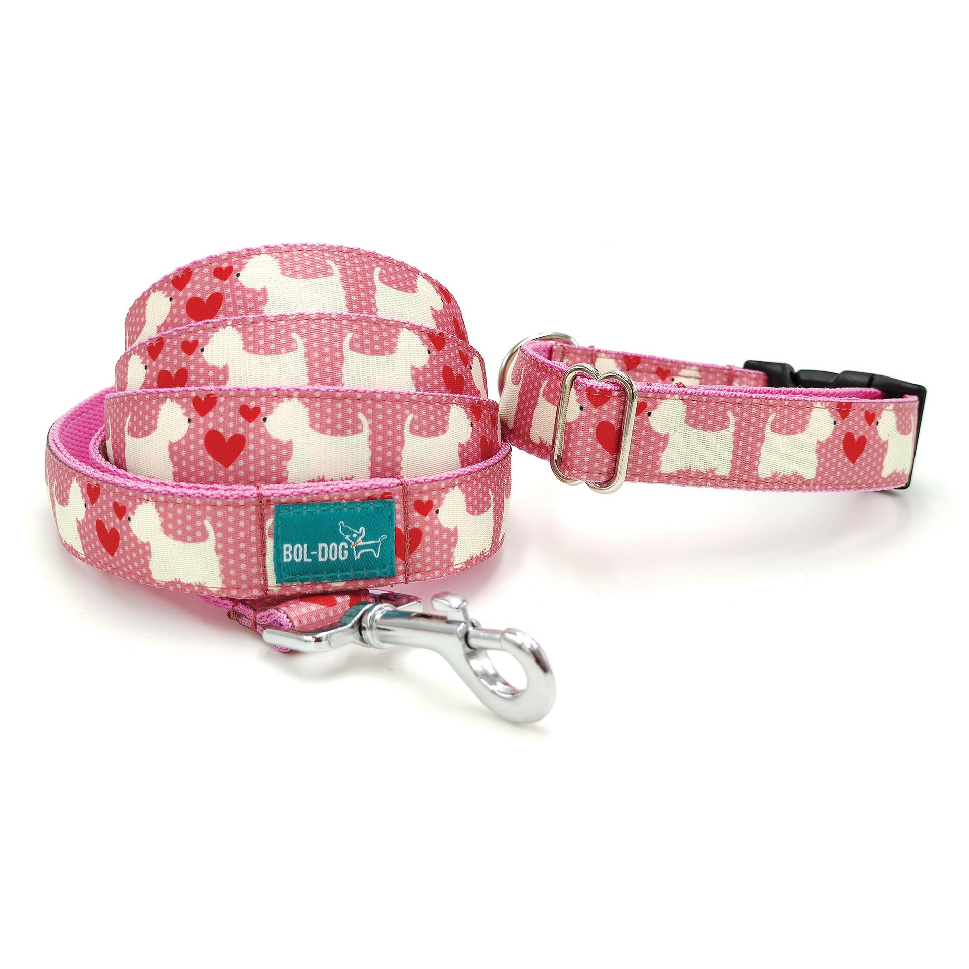 westie mintás pink póráz és nyakörv szett