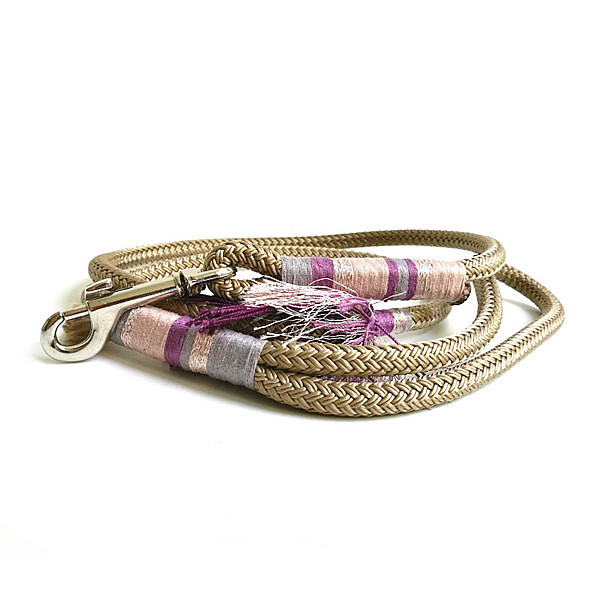 Beige & purple rope dog leash