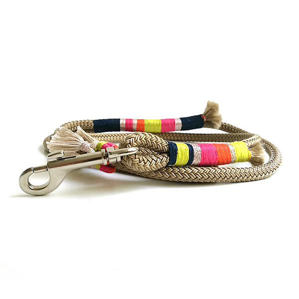 Beige & neon rope dog leash