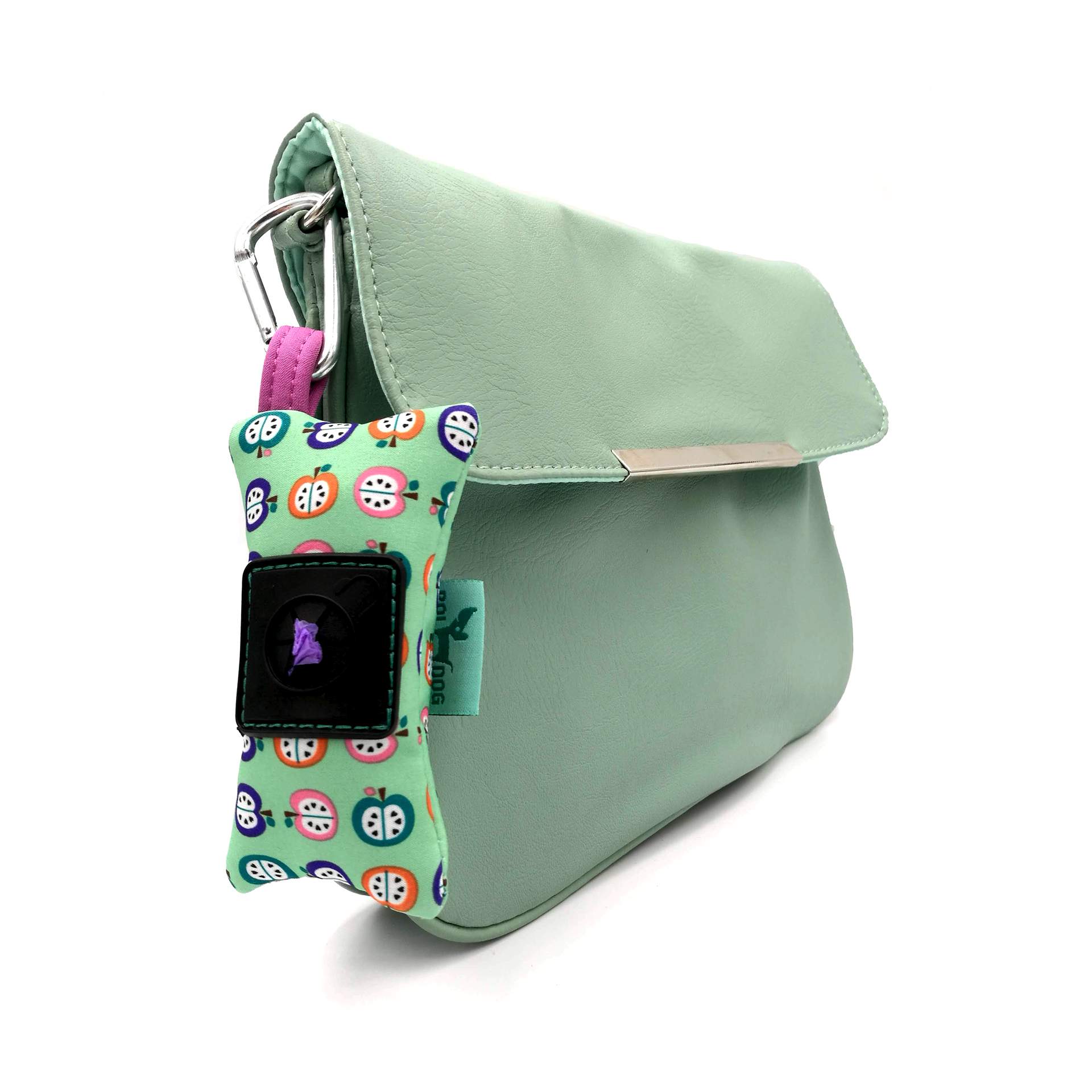 Apple patterned dog poop bag holder.